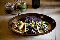 JEN  SISKA - Three taco belles: tortillas with squash, mushrooms, and asparagus.