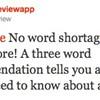 Three Word Restaurant Reviews: a Bad Idea