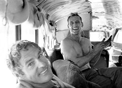ALLEN GINSBERG, CORBIS. - Timothy Leary and Neal Cassady aboard the bus.