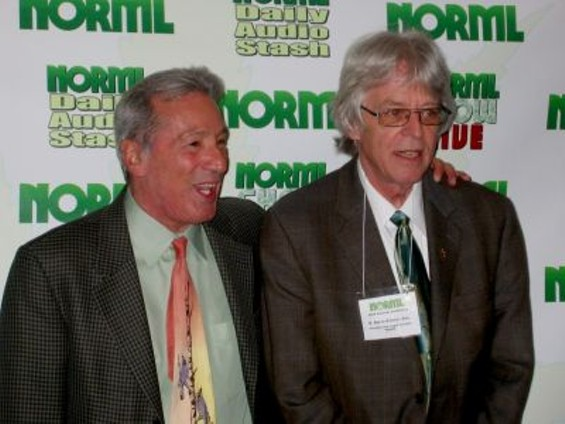 Tom Ammiano (left) poses with NORML's founder, R. Keith Stroup - ANNA MCCARTHY