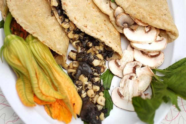 Tortas+in+a+three-way%3A+squash+blossom%2C+Mexican+corn+truffle%2C+and+mushroom.