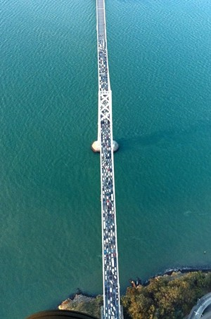 Traffic was halted this morning when a gunman acted out on the Bay Bridge - SKY1RON