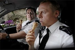 Two cops. Four guns. Zero wounded. Simon Pegg and Nick Frost in Hot Fuzz.
