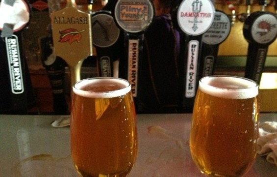 Two Pliny the Youngers on the bar at Toronado. - ANNA ROTH