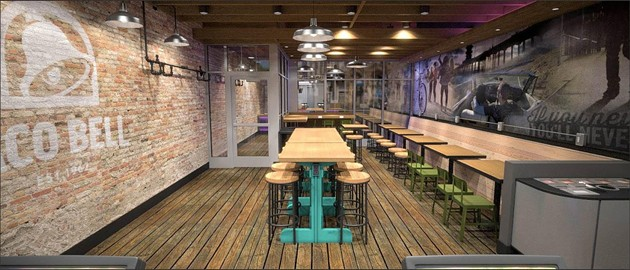Look at the Taco Bell of tomorrow, with its distressed plank flooring and color splashes! - TACO BELL