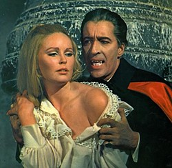 Sir Christopher Lee with Veronica Carlson in Dracula Has Risen From the Grave (1968) - HAMMER FILMS