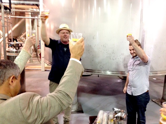Tasting the first beer from the new brewery with Shaun O'Sullivan. - CHRIS COHEN