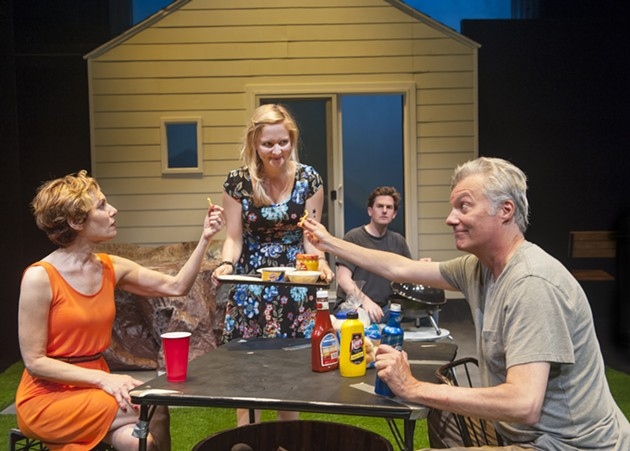 Sharon (c. Luisa Frasconi) serves appetizers to neighbors Mary (l, Amy Resnick*) and Ben (r, Jeff Garrett*) as Kenny (back, Patrick Kelly Jones*) mans the hibachi in Aurora's Bay Area Premiere of Detroit. - DAVID ALLAN