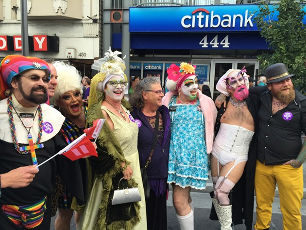 Some queens at the street party in the Castro Friday evening. - PETER LAWRENCE KANE