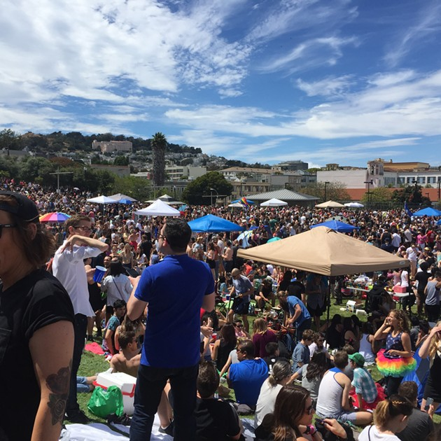 Capacity crowds at Dolores Park on Saturday. - PETER LAWRENCE KANE