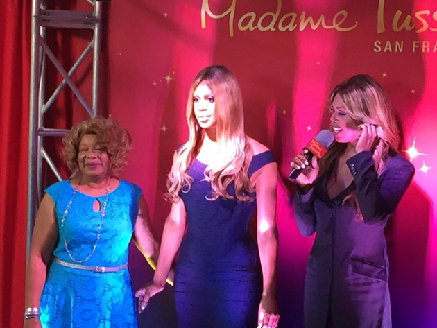 Laverne Cox's mother, a wax Laverne Cox, and Laverne Cox, at SF Pride's press conference Friday afternoon. - PETER LAWRENCE KANE