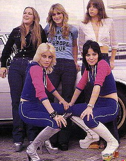 1976 promotional photo of the American rock n roll group The Runaways by Mercury Records. Shown in the photo are (clockwise from top left): Lita Ford, Sandy West, Jackie Fox, Joan Jett, and Cherie Currie