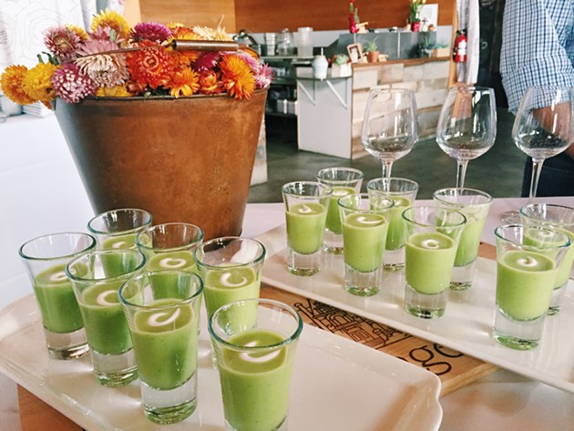 Chilled watercress soup paired with a (not pictured) Unibroue Blanche de Chambly (Canada). - BETTY WANG