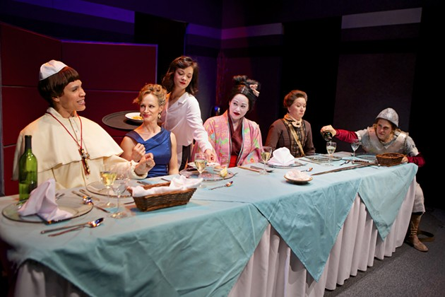 Leontyne Mbele-Mbong as Pope Joan, Kendra Lee Oberhauser* as Marlene, Aily Roper as Waitress, Karen Offereins as Lady Nijo, Danielle Cain as Isabella Bird, and Rosie Hallett as Dull Gret. - PAK HAN