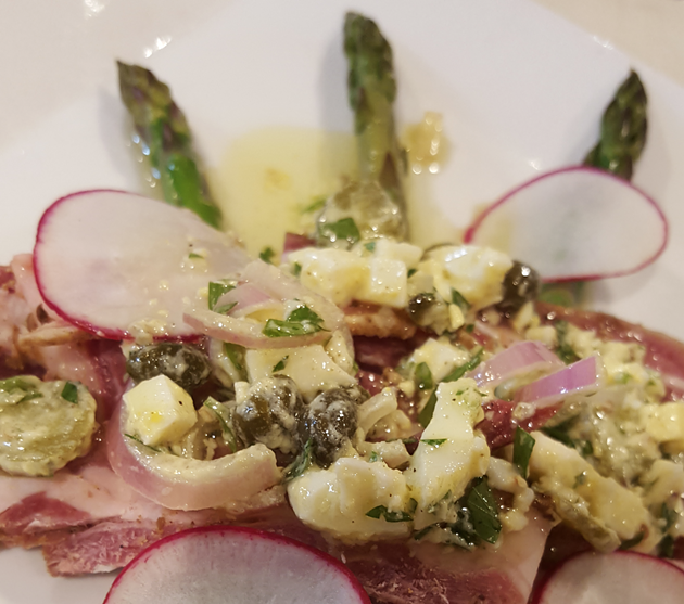 Lamb Belly Pastrami with Poached Asparagus - THIRSTYBEAR