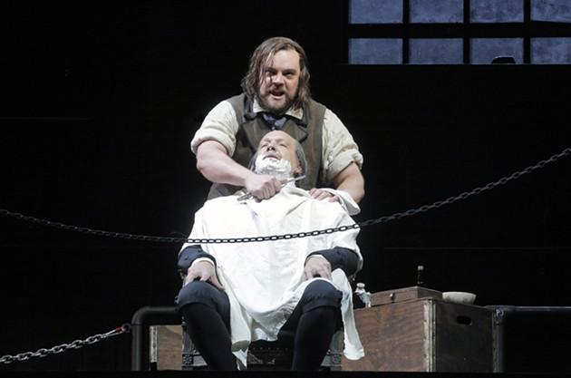 Brian Mulligan as Sweeney Todd with, Wayne Tigges as Judge Turpin - COURTESY OF CORY WEAVER/SAN FRANCISCO OPERA