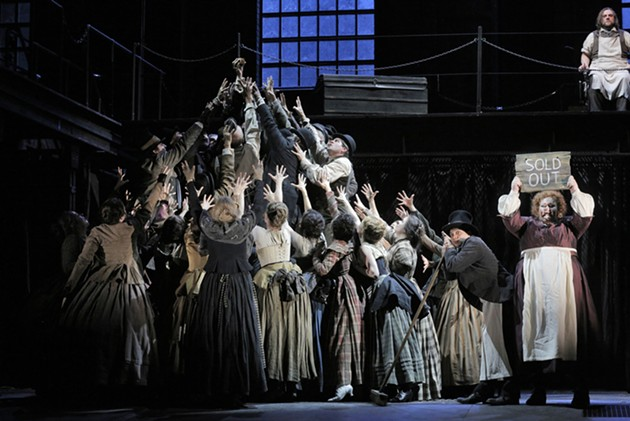 The San Francisco Opera Chorus with Stephanie Blythe as Mrs. Lovett and Brian Mulligan as Sweeney Todd - COURTESY OF  CORY WEAVER/SAN FRANCISCO OPERA