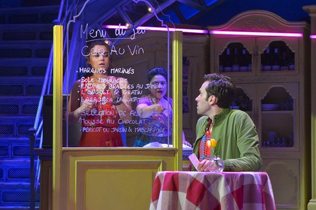 Samantha Barks as Amélie, Maria-Christina Oliveras as Suzanne, and Adam Chanler-Berat as Nino - KEVIN BERNE