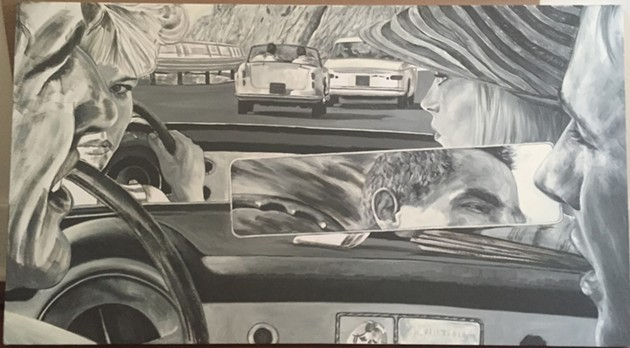 "1956 Lancia Aurelia Convertibile GT 2500 [B24S] (Il Sorpasso), Oil on canvas, 20"" x 36"", 2015 - ERIC WHITE"