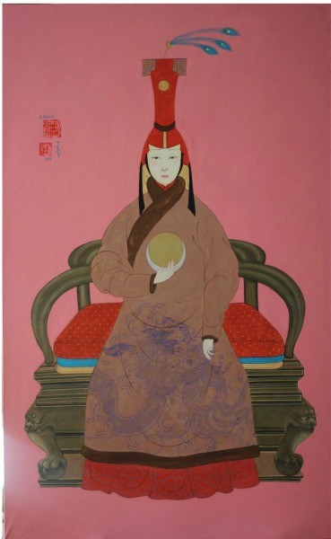 "Nomin Bold, ""Queen Goo Maral"" Gouache on cotton, 2014 - ASIA WEEK SAN FRANCISCO BAY AREA"