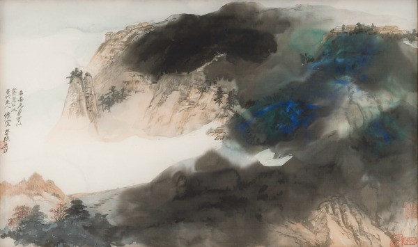 "Zhang Daqian, ""Living in the Mountains (detail), Ink and color on paper, 1899 – 1983 - ASIA WEEK SAN FRANCISCO BAY AREA"