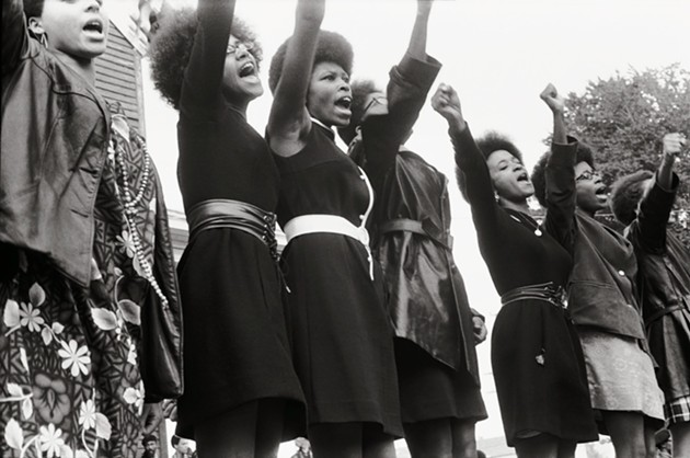 Black Panthers from Sacramento, Free Huey Rally, Bobby Hutton Memorial Park in Oakland, 1969. - COURTESY OF PIRKLE JONES AND RUTH-MARION BARUCH