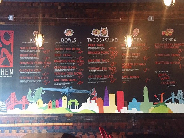 KoJa's menu on the left side of the wall when you walk in. - BETTY WANG