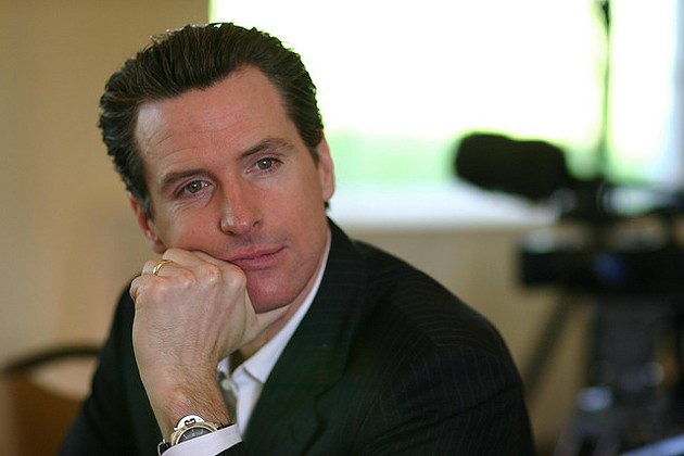 "Newsom's ""thinking face."" - JOANNE WAN/FLICKR"