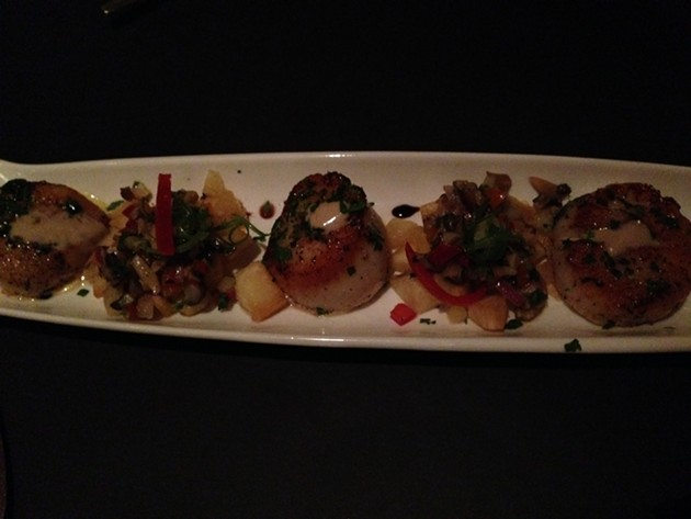 Day Boat Scallops with fried yuca, portobellos, chayote, lime, cilantro - A.K. CARROLL