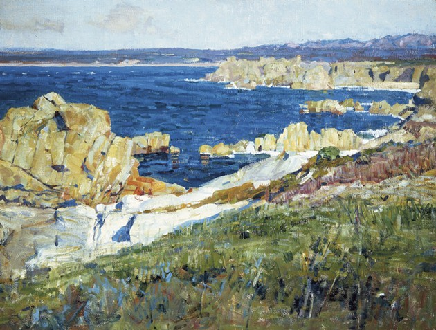 "Bruce Nelson (American, 1888–1952), ""The Summer Sea,"" ca. 1914. Oil on canvas. 30 × 40 in. Irvine Museum, California. Courtesy of the Irvine Museum"