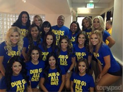 Tony and Gemmalyn with the Warriors Dance Team - COURTESY OF TONY ROBLES