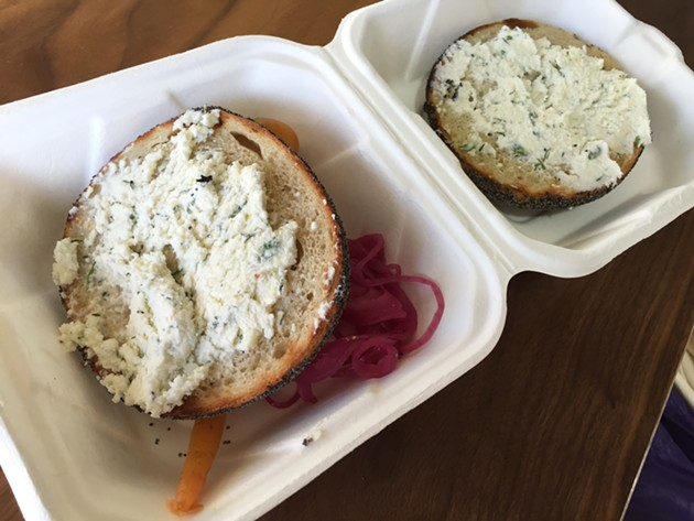 A bagel with cheese and pickles at Marla Bakery. - PETER LAWRENCE KANE
