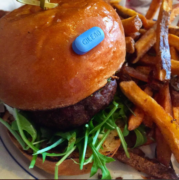 A clever, hilarious Instagram about PrEP/Truvada that pairs the little blue pill with tasty meals. - INSTAGRAM/TAKE IT WITH FOOD