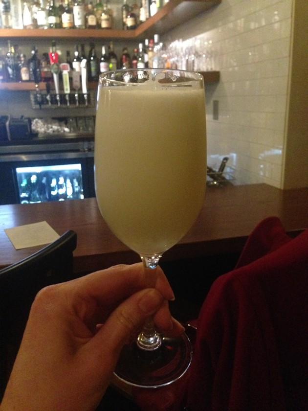 White Bird — tequila, orgeat, absinthe, lemon, egg white - A. K. CARROLL