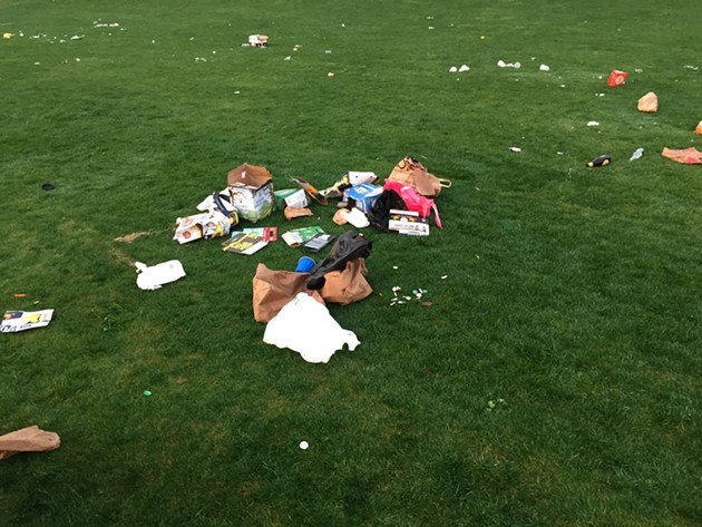 This was Dolores Park at 7:20 a.m., with Rec and Park already on the cleanup job. - PETER LAWRENCE KANE