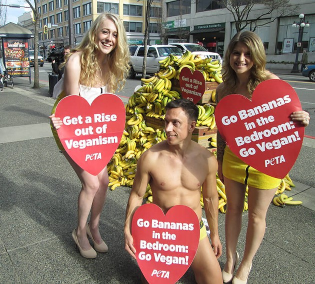 "These ""Banana Babes"" were protesting in Victoria, B.C. PETA's press release says nothing about banana clothes for tomorrow's protest, nor does it sound like a man will be there. - PETA"