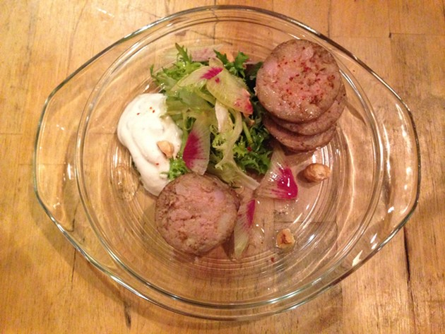 House Stuffed Chorizo, tzatziki, sting nettle chimichuri, house pickles - A.K. CARROLL