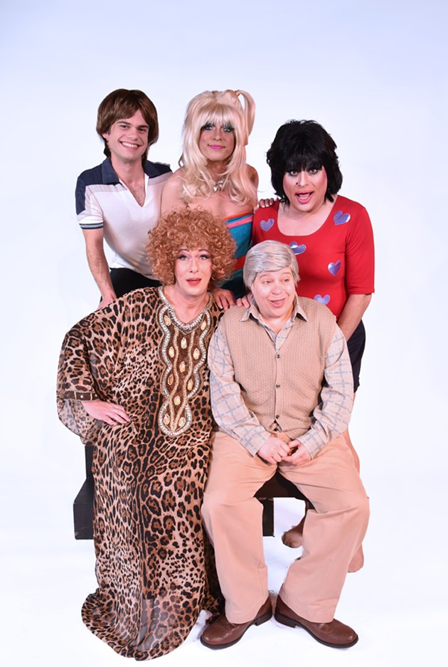 Adam Roy As Jack, D'Arcy Drollinger As Chrissy, Heklina As Janet, Matthew Martin As Helen, And Sara Moore As Stanley - GARETH GOOCH