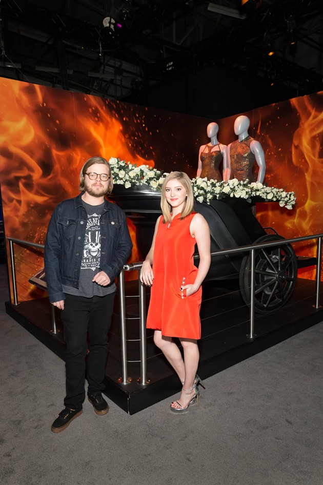 Willow Shields (Primrose Everdeen) and Elden Henson (Pollux) on a recent tour of The Hunger Games: The Exhibition. - COURTESY OF LIONSGATE
