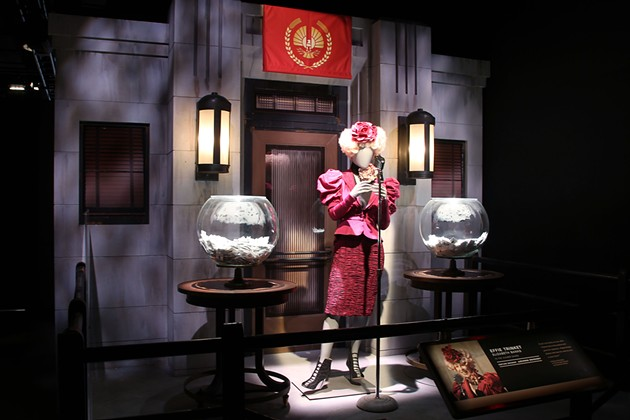 One of Effie Trinket's many stylish outfits featured in the exhibition. - COURTESY OF LIONSGATE