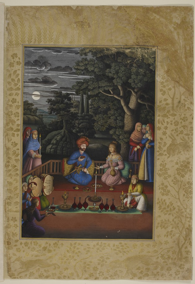Turktazi's Visit to the Magical Garden of Turktaz, Queen of the Fairies, from the Khamsa (Quintet) of Nizami, 1675–1676, by Muhammad Zaman - THE BRITISH LIBRARY BOARD
