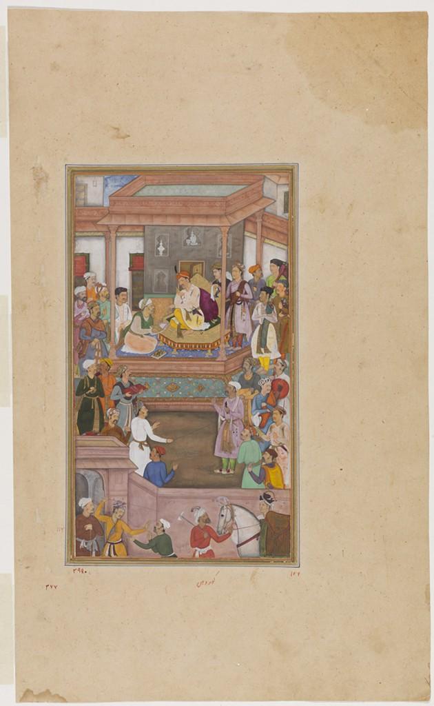 Abu'l Fazl presenting the Akbarnama to Akbar, from the Akbarnama (Book of Akbar), - THE TRUSTEES OF THE CHESTER BEATTY LIBRARY