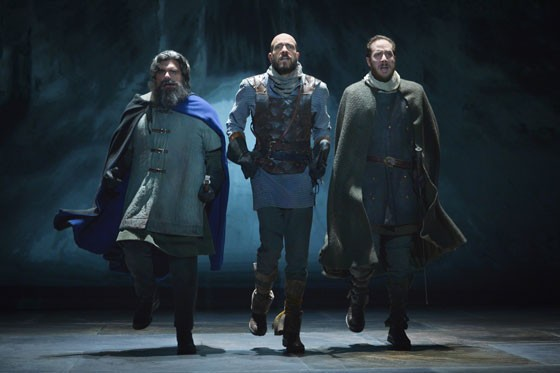 (l to r) Paul Jennings (Mentieth), Scott Coopwood (Lennox), and Nicholas Pelczar (Angus) in Shakespeare's Macbeth at Berkeley Rep. - PHOTO COURTESY OF KEVINBERNE.COM