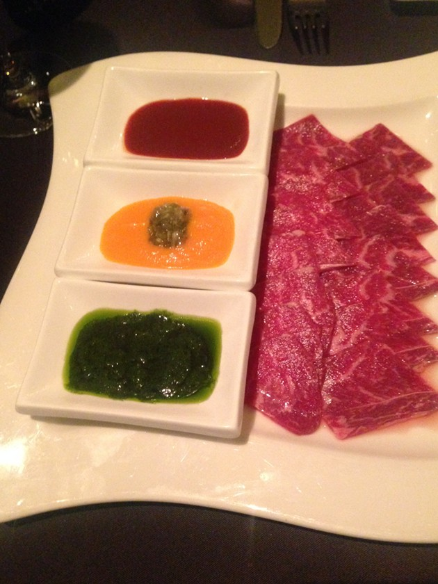 Wagyu beef coulette and trio of sauces - A.K. CARROLL