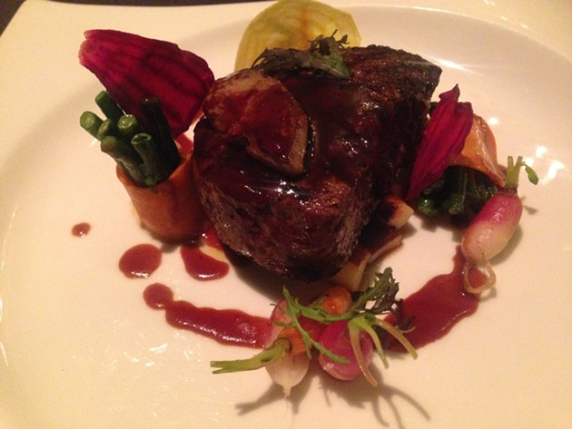 Sichuan Pepper Filet Mignon with roasted parsnips, chinese long beans, crispy beets, foie gras sauce - A.K. CARROLL
