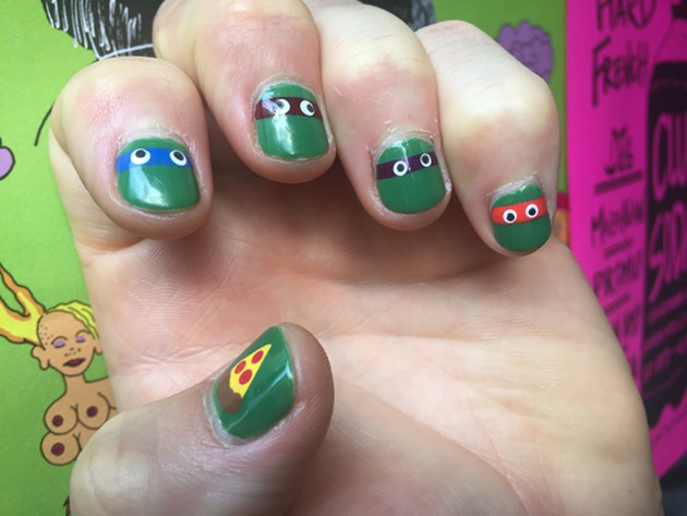 I met a dude with these Ninja Turtles nails while waiting in line for El Rio's Galactic Urinal at Hard French. COWABUNGA! - PETER LAWRENCE KANE