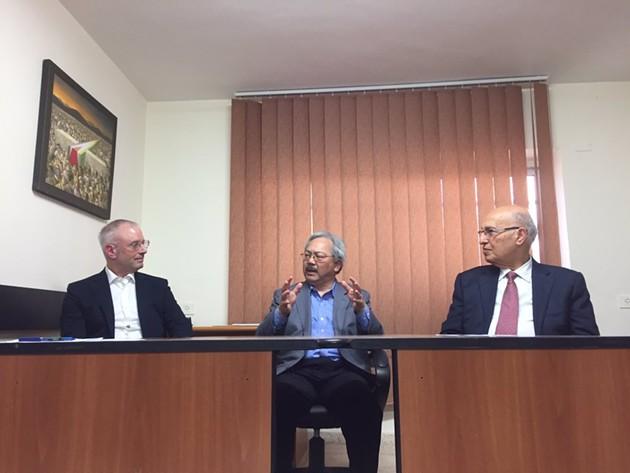 San Francisco Mayor Ed Lee in Ramallah, meeting with Palestinian official Nabil Shaath. - MAYOR ED LEE/TWITTER