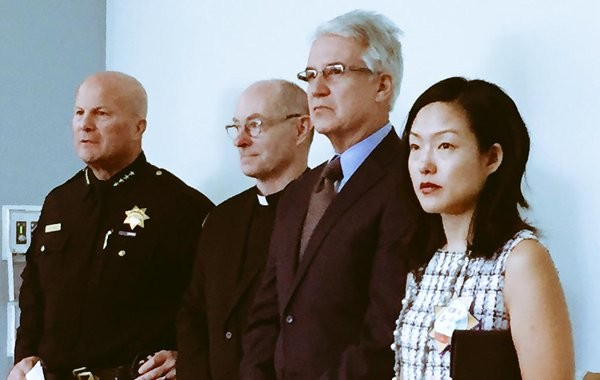 Police Chief Greg Suhr (left) and Supervisor Jane Kim (right) in slightly happier times. - JANE KIM/TWITTER