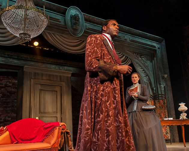 Ira Aldridge (Carl Lumbly) reflects on becoming the first black actor to play Othello on a British stage in an interview with reporter Halina Wozniak (Elena Wright). - KEN LEVIN