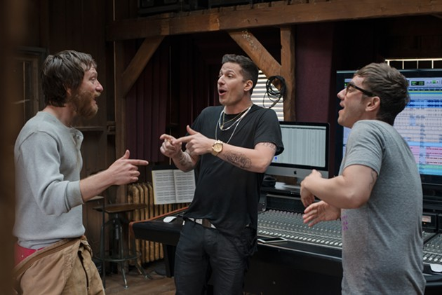 (L-R) The Lonely Island's Akiva Schaffer, Andy Samberg, and Jorma Taccone in Popstar: Never Stop Never Stopping. - COURTESY OF UNIVERSAL PICTURES